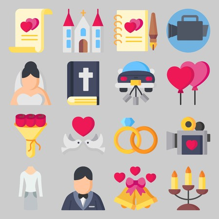 Icon set about Wedding. with marriage, bible and bride