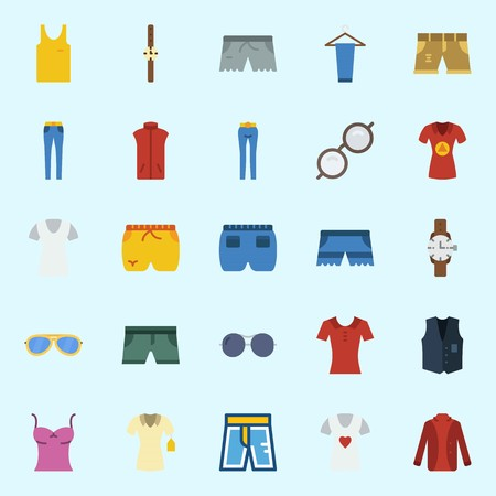Icon set about Man Clothes. with trousers, vest, short, sleeveless, shirt and sunglasses Çizim