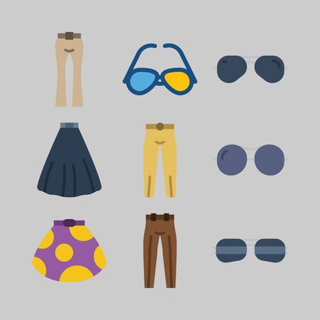 icon set about Women Clothes. with trousers, skirt and black skirt Çizim