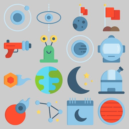 Icon set about Universe with keywords moon, blaster, constellation, observatory, astronaut and orbit