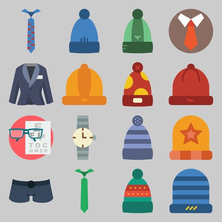 icon set about Man - Clothes. with short, winter hat and snellen chart