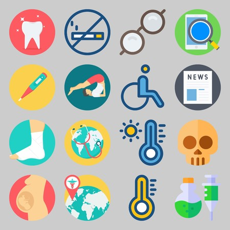 icon set about Medical. with glasses, pregnancy and hot Illustration