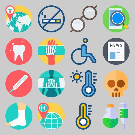 icon set about Medical. with thermometer, worldwide hospital and tooth