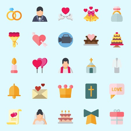 Icon set about Wedding. with marriage, balloons, bouquet, bow, crown and engagement ring Vettoriali