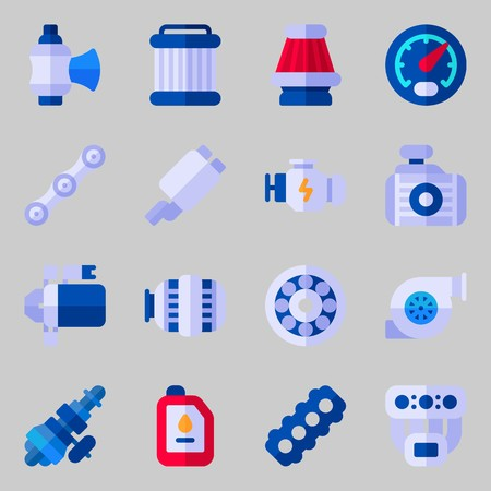 Icons set about Car Engine. with valve, gauge and chain Illustration