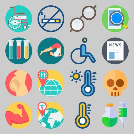 icon set about Medical. with world hospital, no smoking and muscle