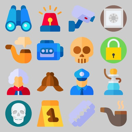 Icon set about Crime Investigation. with smoke, safe and binocular Illustration