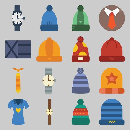 icon set about Man - Clothes. with tie, wallet and hat