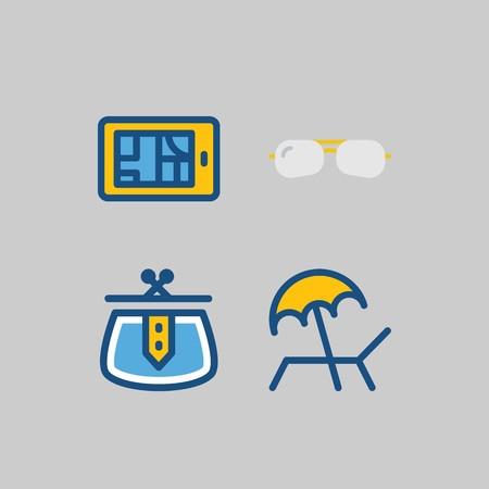여행에 대 한 아이콘을 설정합니다. 선글라스, 선베드 및 지갑 일러스트