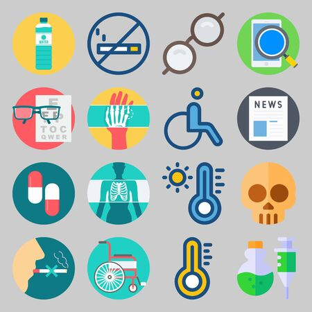 icon set about Medical. with water, sunglasses and news