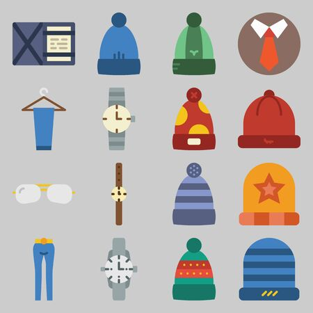 Color icons set: hats, mens clothes, glasses, watches. Vector illustration on gray background.