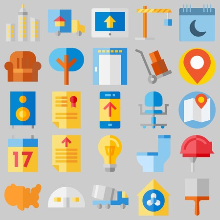 Icon set about real assets with winch, placeholder and wheelbarrow.