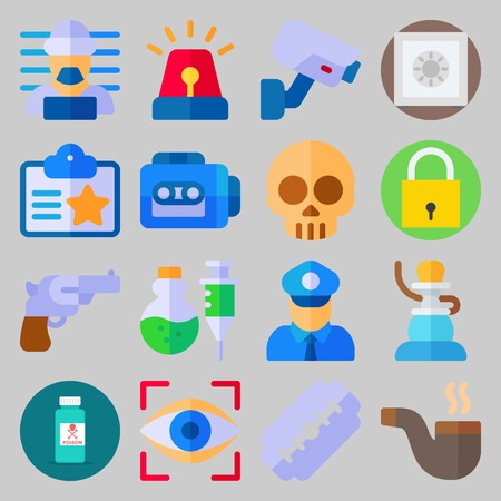 Icon set about Crime Investigation. with id card, policeman and skull
