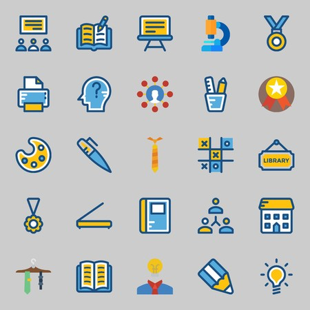 Icon set about School And Education. with paint palette, scanner, medal, pencil case, tic tac toe and library