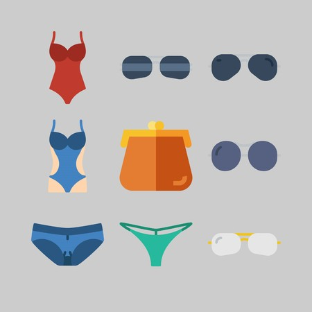 Icon set about Women Clothes. with bikini, purse and sunglasses