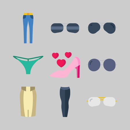 icon set about Women Clothes. with skirt, high hell and thong