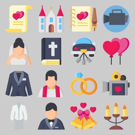 Icon set about Wedding. with candelabra, priest and love Illustration