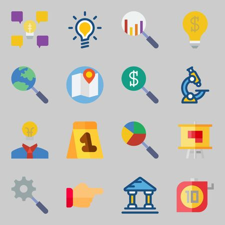 Icons set about Inspiration. with museum, search and plan Illustration