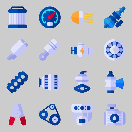 Icon set about Car Engine. with manifold, motor, distribution, belt, gauge and pilers