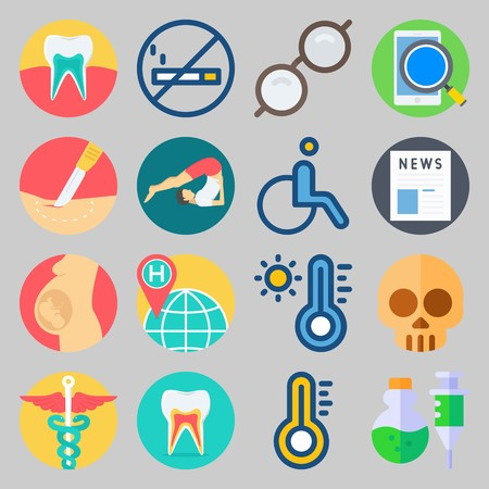 Medical icons set: search button, poison, skull, glasses. Vector illustration on gray background. Illustration