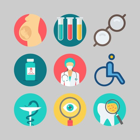 Medical icons set: search button, poison, glasses. Vector illustration on gray background. Illustration