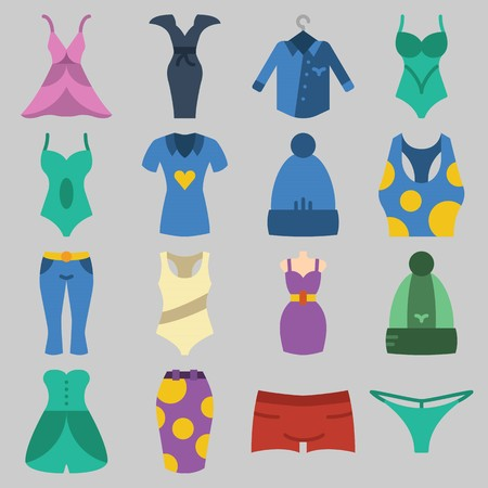Icons set of Womens Clothes: tank top, shirt, swimsuit, skirt, thong and pants. Vector illustration on gray background.