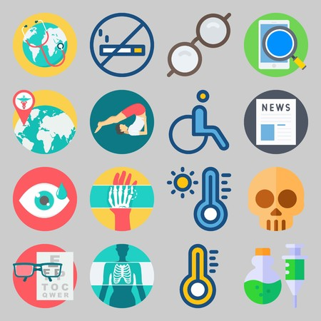 icon set about Medical. with hot, eye and news Vector illustration on gray background. Illustration
