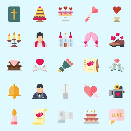 icons set about Wedding. with bow, groom, candelabra, church, shoe and bouquet Illustration
