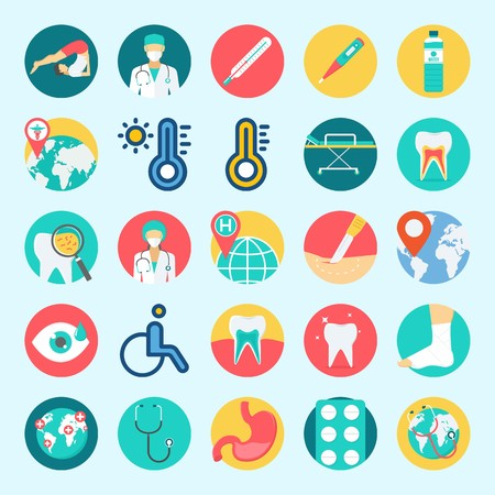 icons set about Medical. with sprain, worldwide, thermometer, surgeon, stethoscope and teeth