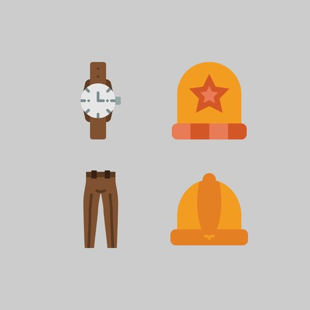 icon set about Man - Clothes. with winter hat, hat and trousers