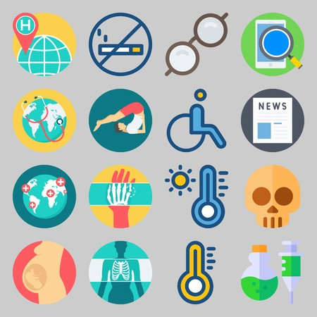 icon set about Medical. with yoga, hot and world hospital Vector illustration on gray background.