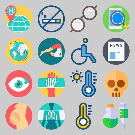 icon set about Medical. with poison, pregnancy and smartphone Vector illustration on gray background.