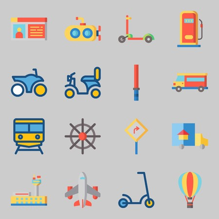 Icons set about Transportation. with airplane, motorbike and hot air balloon Stock Vector - 95595688