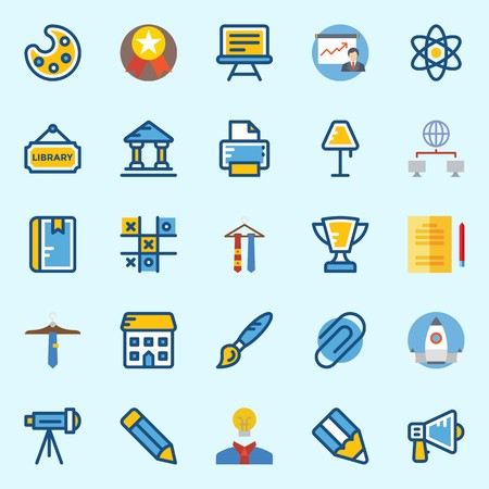 icons set about School And Education. with telescope, idea, networking, museum, presentation and notebook