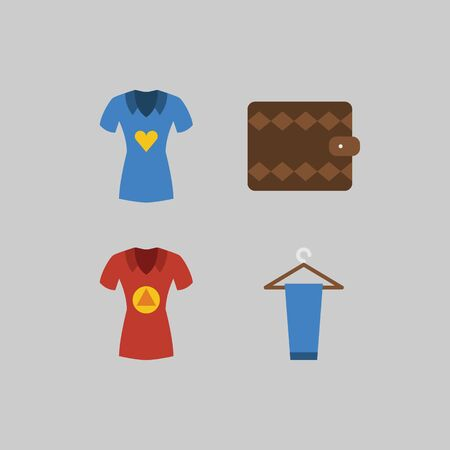 Icon set about Man - Clothes. with peg, shirt and wallet