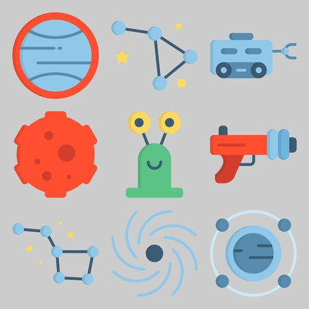 Icon set about Universe like alien and ray gun