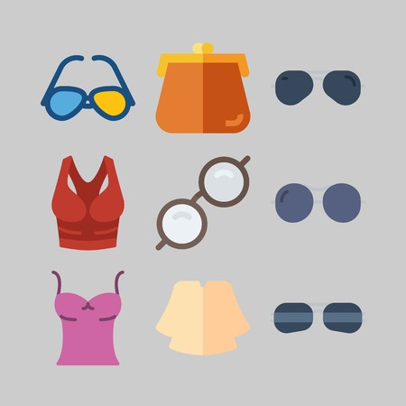 icon set about Women Clothes. with sunglasses, tank top and glasses Ilustração