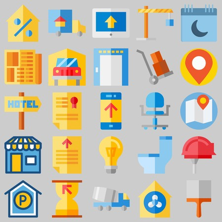 Icon set about real assets with real estate, file and winch.