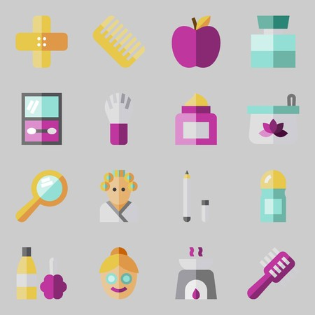 Icons set about beauty with face, hairbrush, cologne, hand mirror, apple and brush.