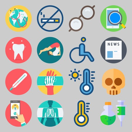 Icon set about medical with hand, glasses and hot illustration. Stock Illustratie