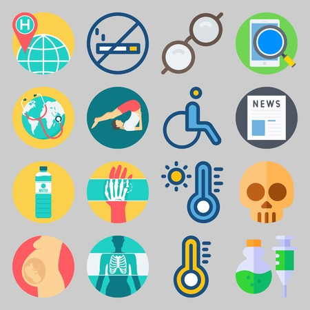 Icon set about medical with wheelchair, hot and hand illustration.