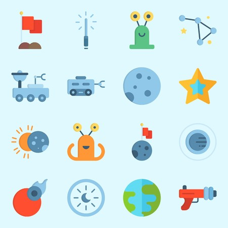 icons set about Universe. with eclipse, orbit, astrology, earth, alien and planet