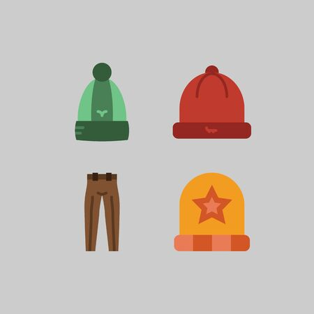icon set about Man - Clothes. with trousers, winter hat and hat
