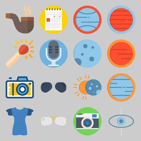 icon set about Hippies. with pipe, shirt Vector illustration on gray background.