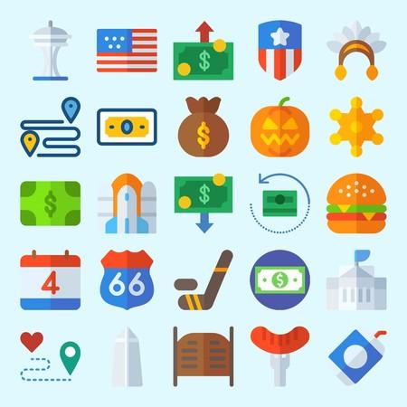 icons set about United States. with soda, space needle, united states, washington monument, money and independent day Illustration