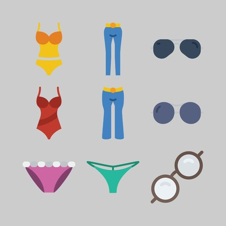 icon set about Women Clothes. with glasses, thong and sunglasses