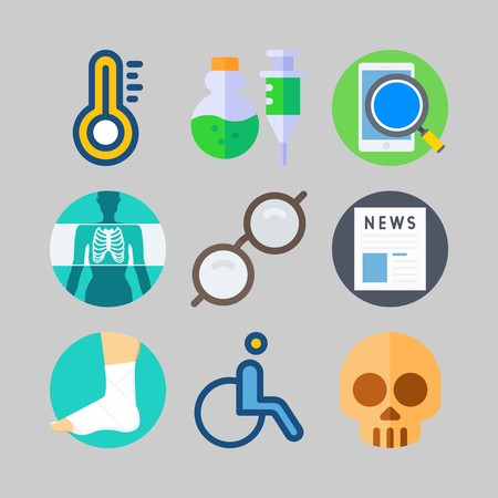 icon set about Medical. with skull, news and sprained foot