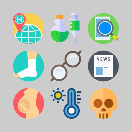 icon set about Medical. with world hospital, pregnancy and newspaper Illustration