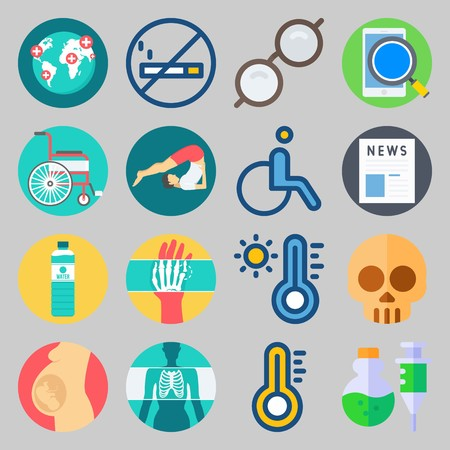 icon set about Medical. with thermometer, poison and hand