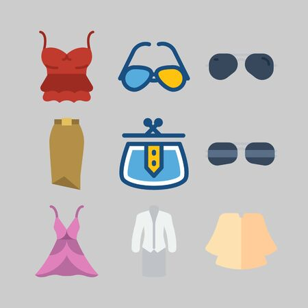 icon set about Women Clothes. with suit, purse, sunglasses and pink dress. Vector illustration on gray background.